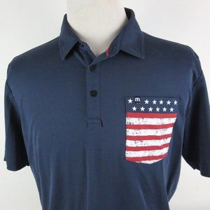 Travis Mathew Large Golf Polo Shirt American Flag